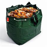 Grüne Gartentasche mit Schlaufen und Zugband für Gartenabfälle