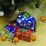 Geschenke vom Weihnachtsmann im Jutesack