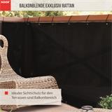 Balkonblende Exklusiv Rattan 0,90 x 3 m / schwarz