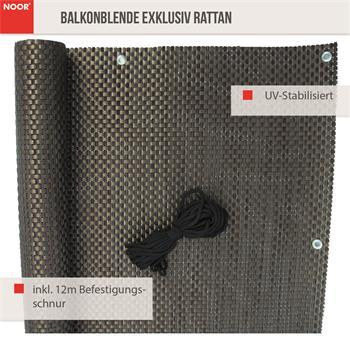 Balkonblende Exklusiv Rattan 0,90 x 3 m / kupfer