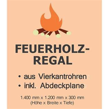 Kaminholzregal 140 x 120 x 30 cm mit Abdeckplane