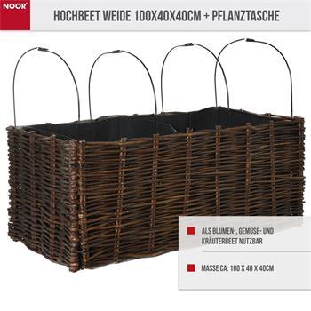 Hochbeet Weide 100x40x40cm + Pflanztasche