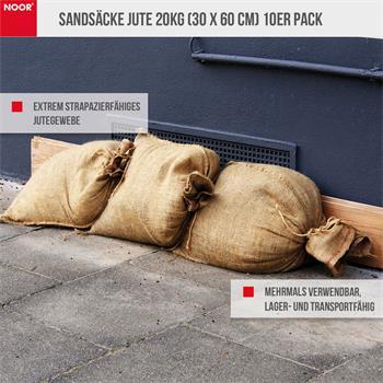 Sandsäcke Jute 20kg (30 x 60 cm) 10er Pack