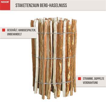 Staketenzaun aus Berg-Haselnuss 0,9x10 m 8-10cm