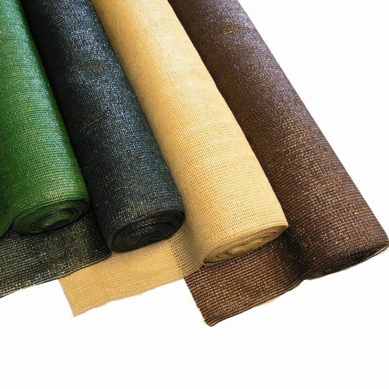 Unser Schattiergewebe in hellgrün, dunkelgrün, beige und braun in verschiedenen Größen