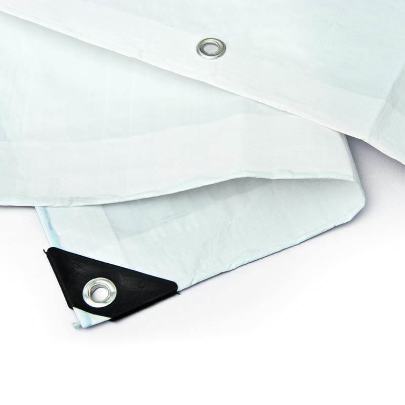 Die Bauzaunplane hat eine schwere Qualität und verstärkte Ecken und Kanten.