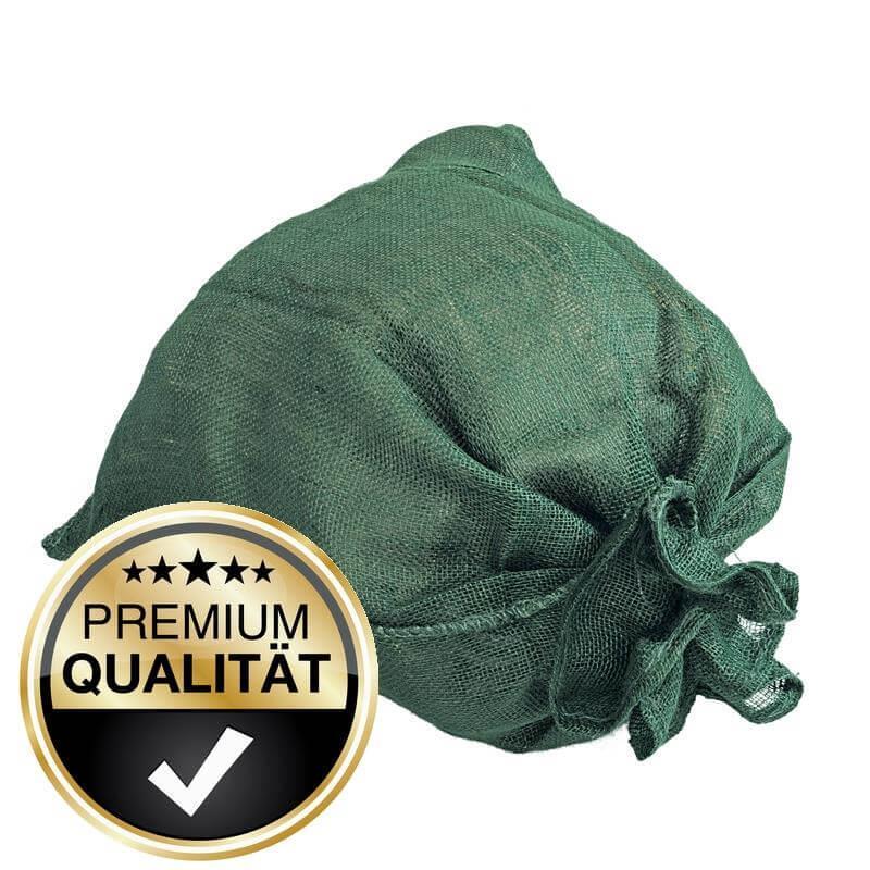 Unsere Jutesäcke bekommen Sie bereits eingefärbt in grün.