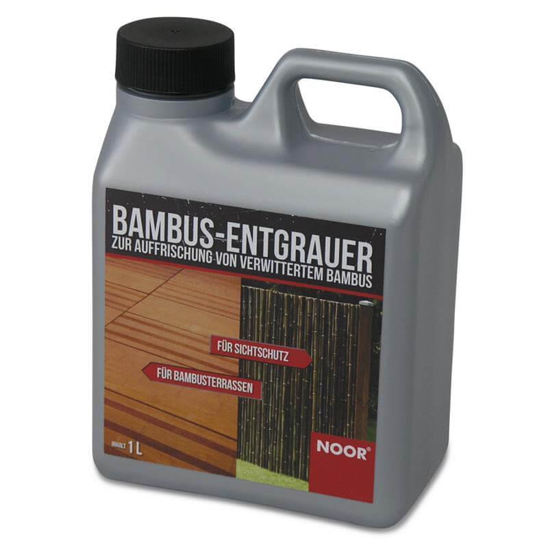 Der Bambusentgrauer ist verdünnbar, entfernt Eisenflecken und kommt als Kanister