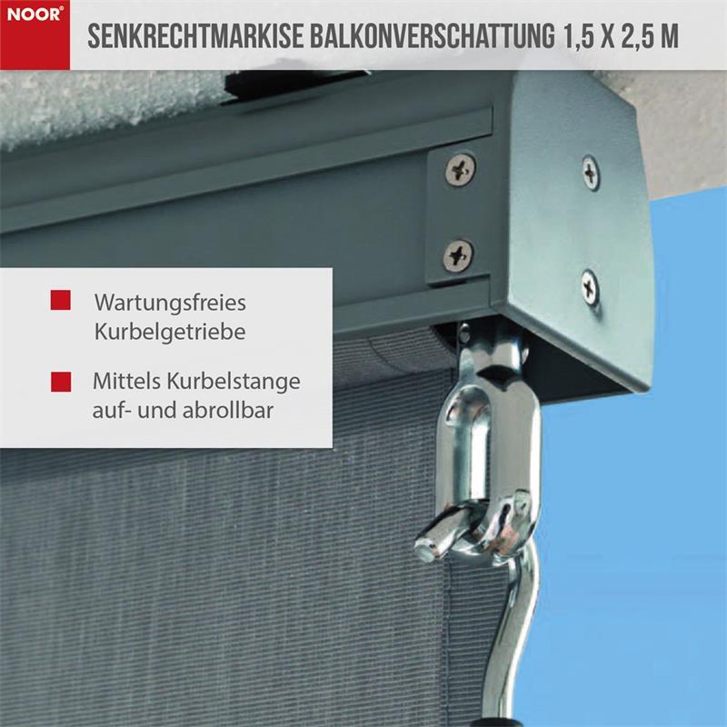Senkrechtmarkise Balkonverschattung 1,5 x 2,5 m