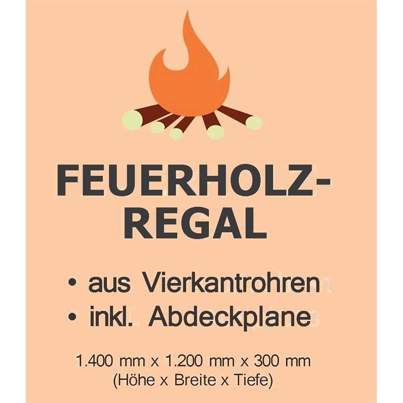 Kaminholzregal 140 x 130 x 30 cm mit Abdeckplane