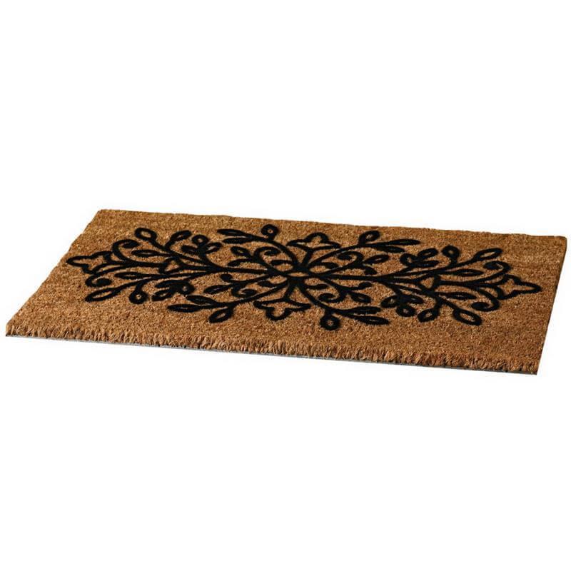 Reich verzierte schöne Fußmatte für den Eingangsbereich. Langlebig dank fester Borsten.