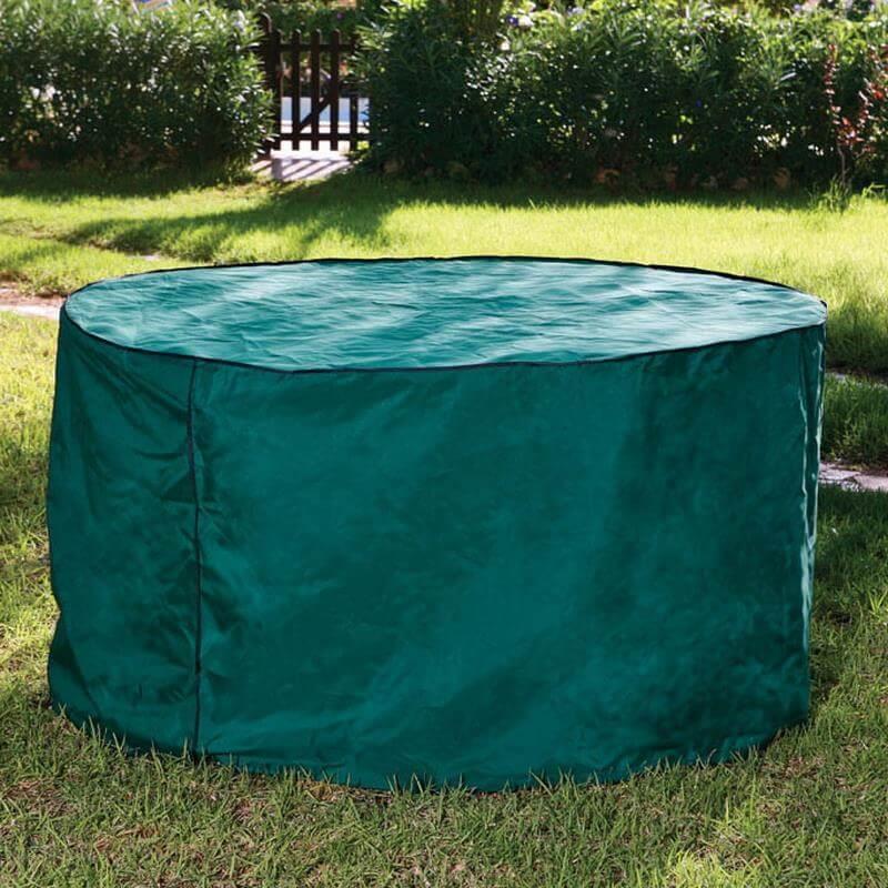 Diese Schutzhüllle ist für runde Gartentische und Garnituren geeignet.