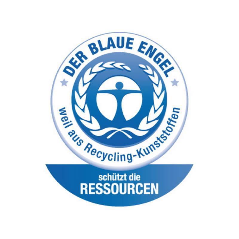 Der blaue Umweltengel prangt auf unseren Müllsäcken