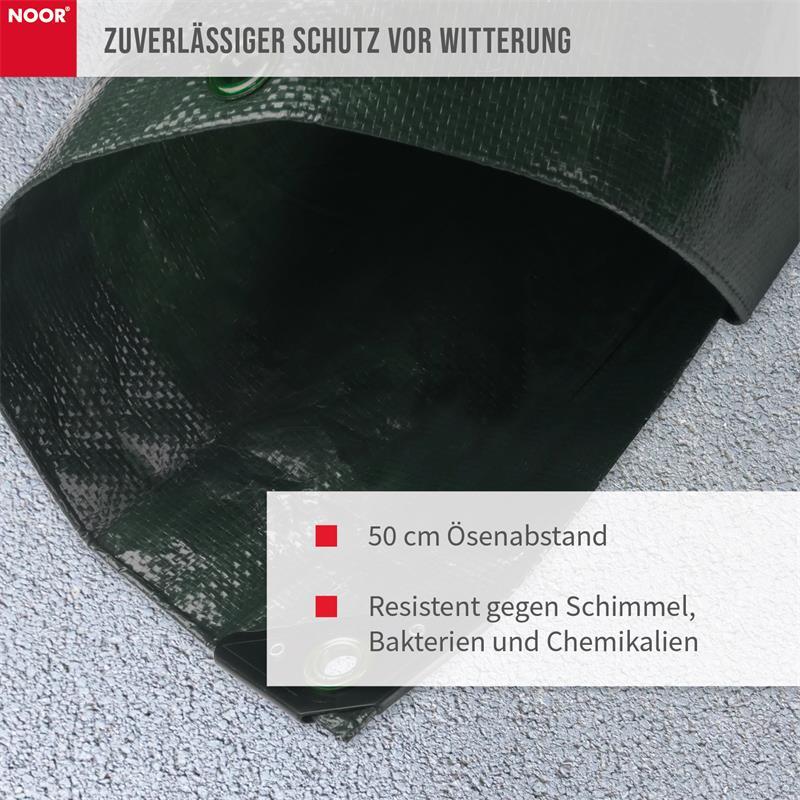 Die einzelnen Ösen der Abdeckplane sind in einem Abstand von 50 cm angebracht.