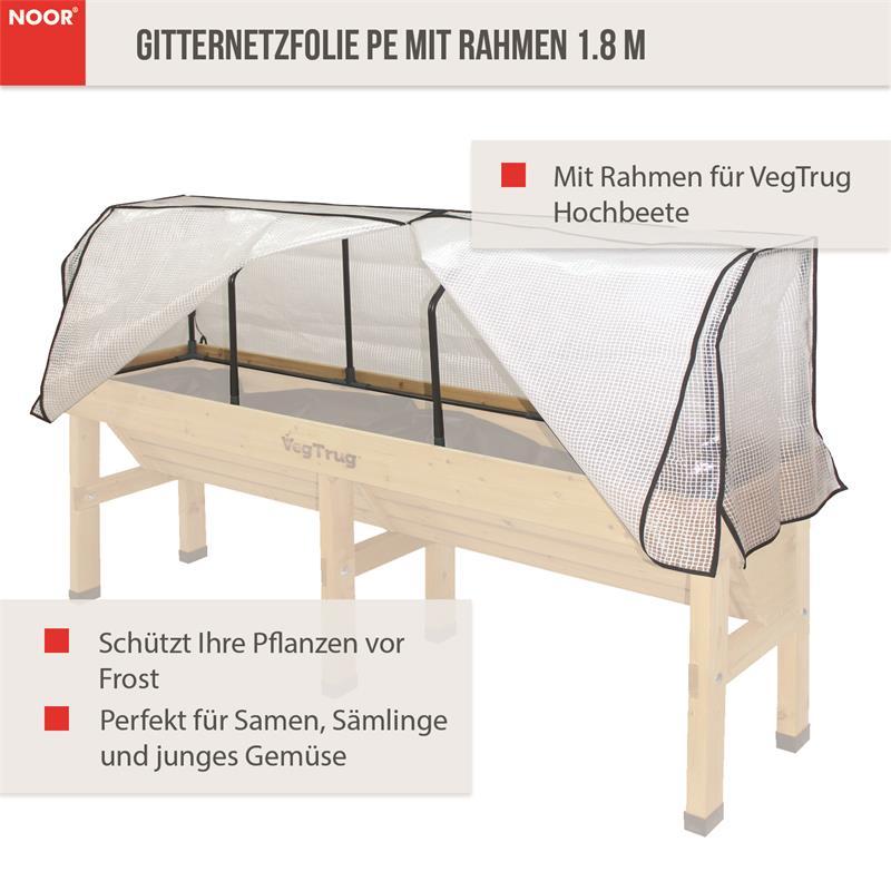 Gitternetzfolie PE mit Rahmen für Hochbeet VegTrug