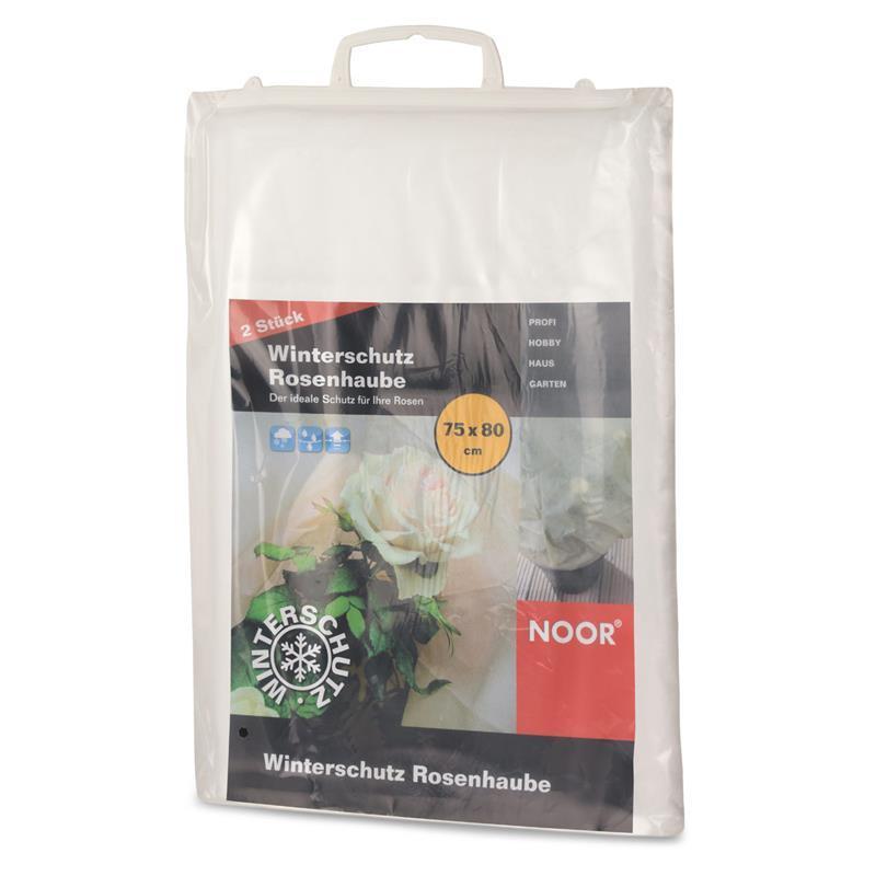 Diese weiße Rosenhaube schützt besonders die empfindlichen Rosen.